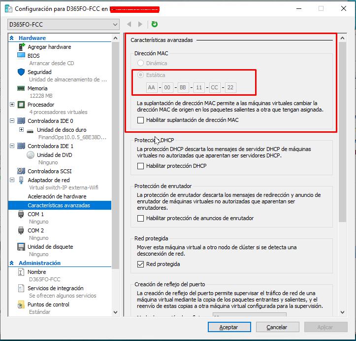 Adaptador de red > Características avanzadas