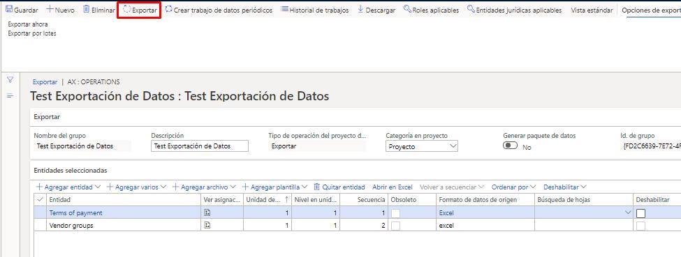 Exportar entidades D365FO