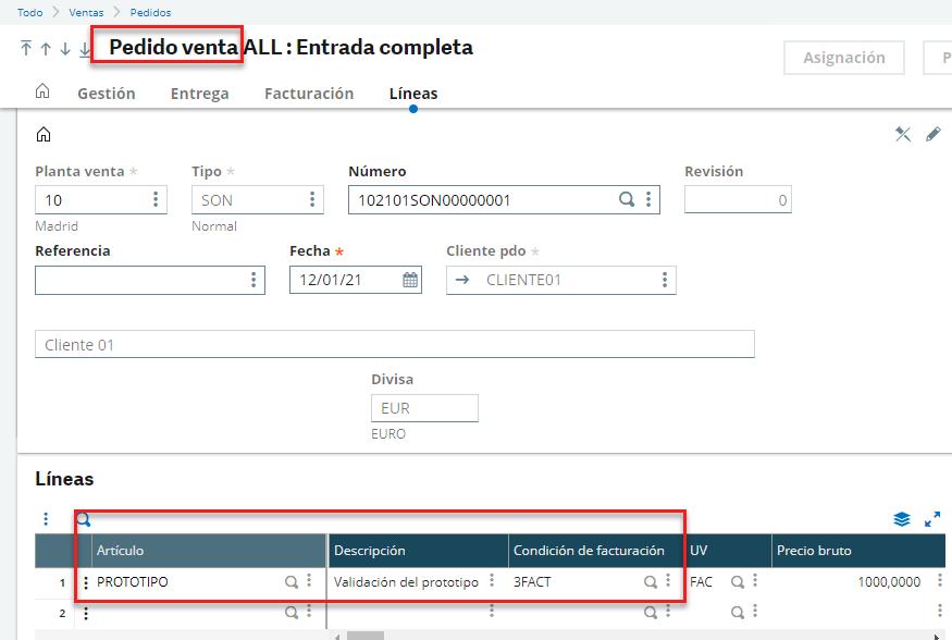 condiciones de facturación simulación pedido de venta sage x3