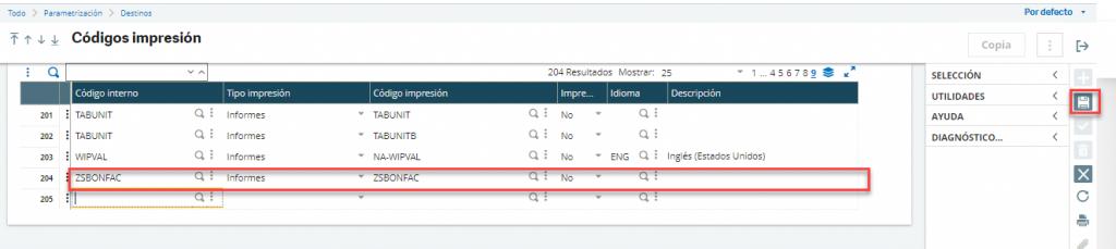 Configurar código de impresión Sage X3