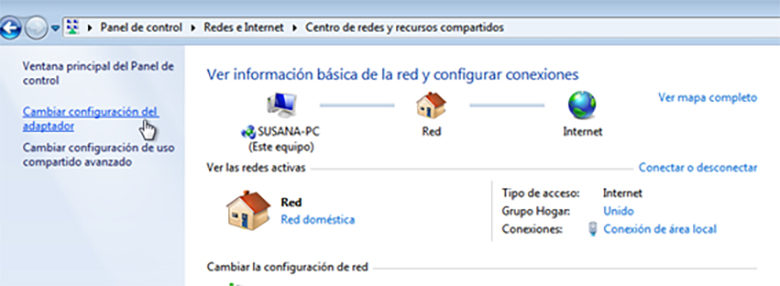 pasos para cambiar DNS cambiar configuración del adaptador